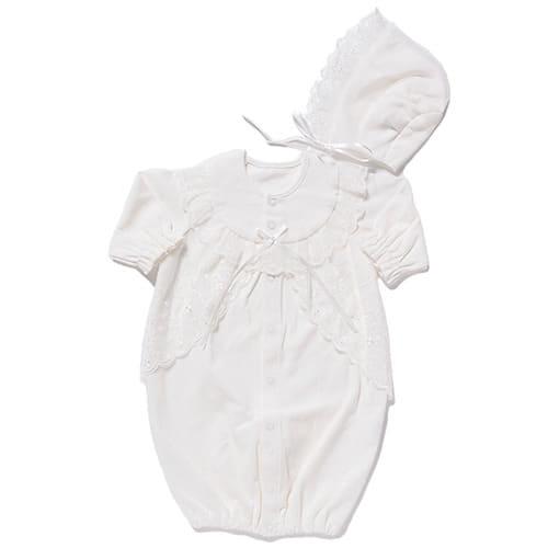 フード付きドレス オーガンジー 綿ポンチ(50~70cm)【送料無料】