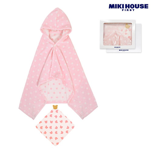 MIKI HOUSE FIRST 【箱付】ドットバスポンチョ&ガーゼハンカチセット ピンク