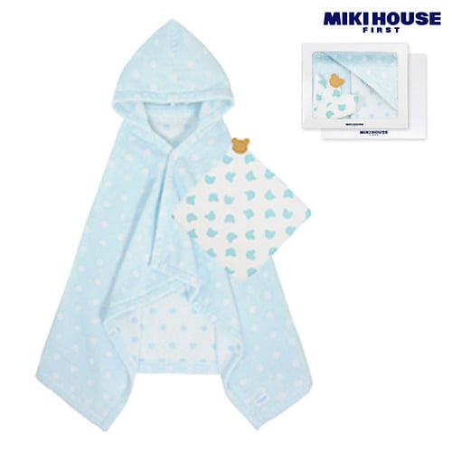 MIKI HOUSE FIRST 【箱付】ドットバスポンチョ&ガーゼハンカチセット(ブルー)