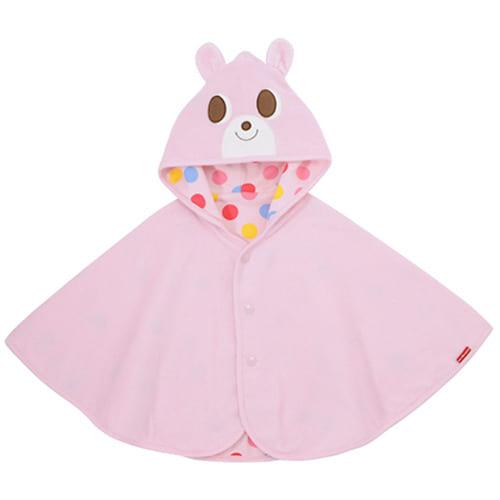 【ホットビスケッツ】UVカット対応 ポップでキュートなリバーシブルポンチョ ピンク