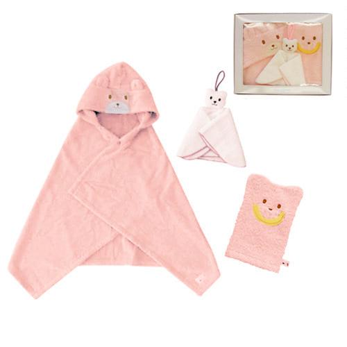 MIKI HOUSE FIRST 【箱付】ベビーバスポンチョ ご出産祝いセット ピンク【送料無料】
