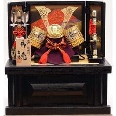 兜収納飾り「透かし彫り鍬形赤富士屏風」