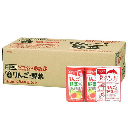 和光堂 元気っち!りんごと野菜 125mlx3本x6パック