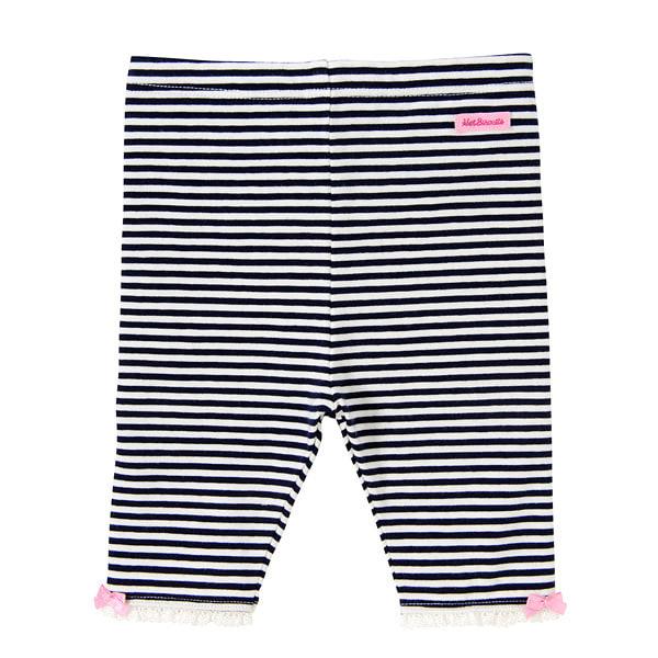 【ホットビスケッツ】ボーダー&ドット☆裾レース付きレギンス風6分丈パンツ(ネイビー・80cm)