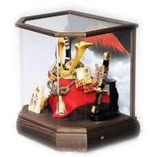 【五月人形】兜ケース飾り「赤富士六角アクリル」