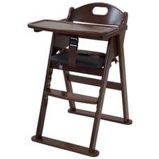 木製ワイドハイチェア ステップ切り替え(ブラウン)