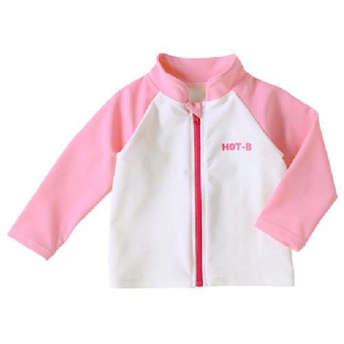 【ホットビスケッツ】★UVカット対応★ジップアップ☆ラッシュガード(ピンク・80cm)
