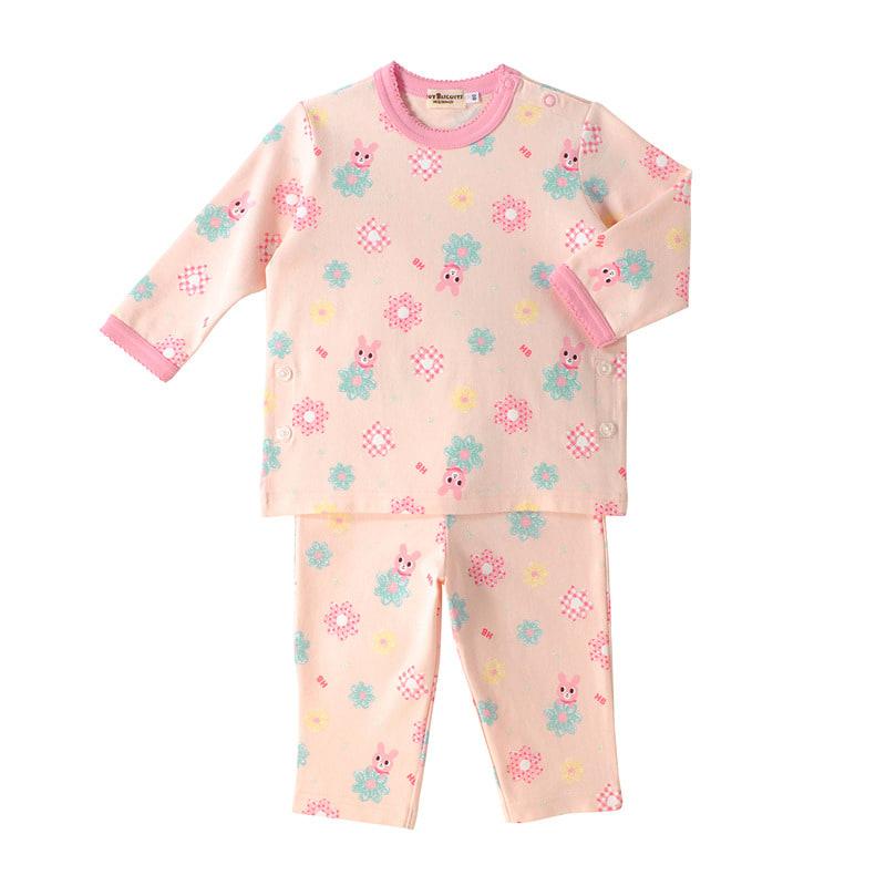 【ホットビスケッツ】手描き風お花♪キャビットちゃん長袖パジャマ(ピンク・80cm)