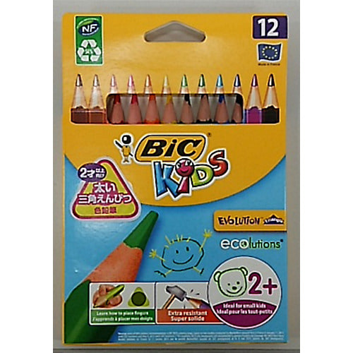 BICKIDS(ビックキッズ)さんかく軸色鉛筆 12色