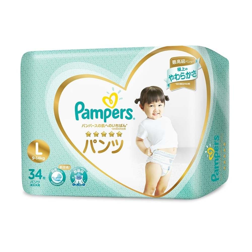 【パンツおむつ】パンパース はじめての肌へのいちばん パンツ Lサイズ 34枚 紙おむつ【パンツタイプ】