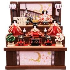 <ベビーザらス> 10%OFF! 【雛人形】ベビーザらス限定 三段収納五人飾り「月に桜格子」【送料無料】画像