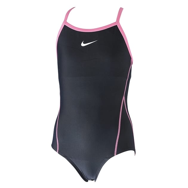 NIKE ナイキ 女児 パイピング ワンピース スクール水着 スイムウェア(ブラックxピンク・120cm)