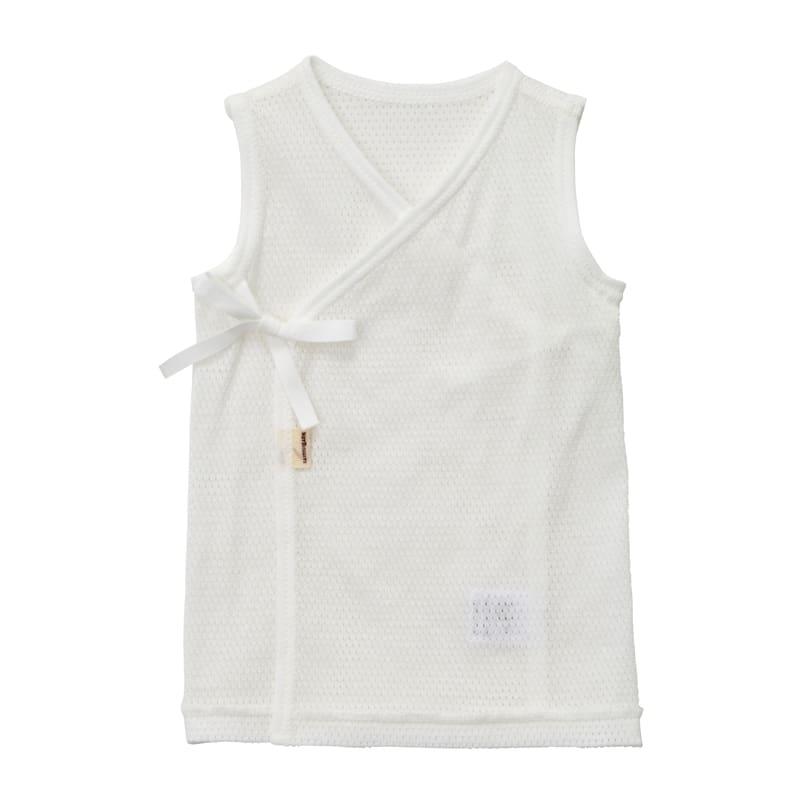 【ホットビスケッツ】 メッシュ天竺素材 ノースリーブ短肌着(白x60cm)