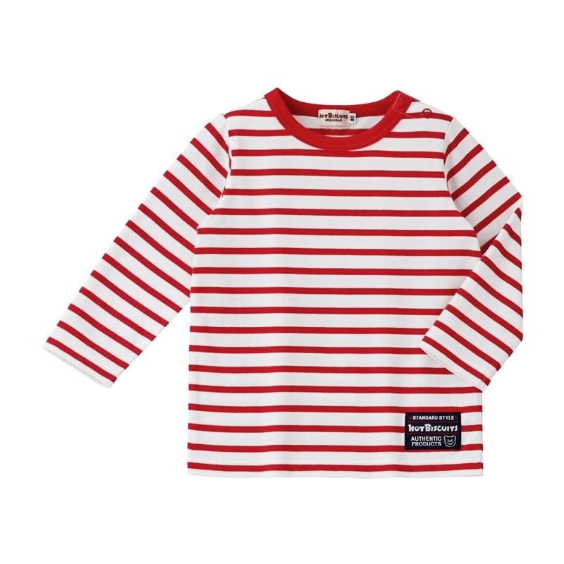 【ホットビスケッツ】爽やか、ボーダー長袖Tシャツ(赤x80cm)