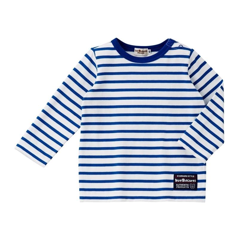 【ホットビスケッツ】爽やか、ボーダー長袖Tシャツ(ブルーx100cm)【送料無料】
