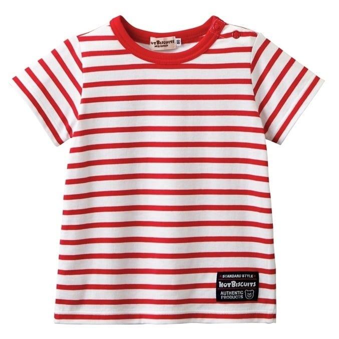 【ホットビスケッツ】シンプル★ボーダー半袖 Tシャツ (赤x70cm)