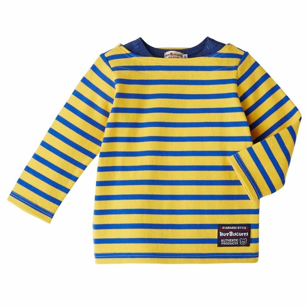 【ホットビスケッツ】天竺素材 シンプルボーダー柄Tシャツ(イエローx110cm)
