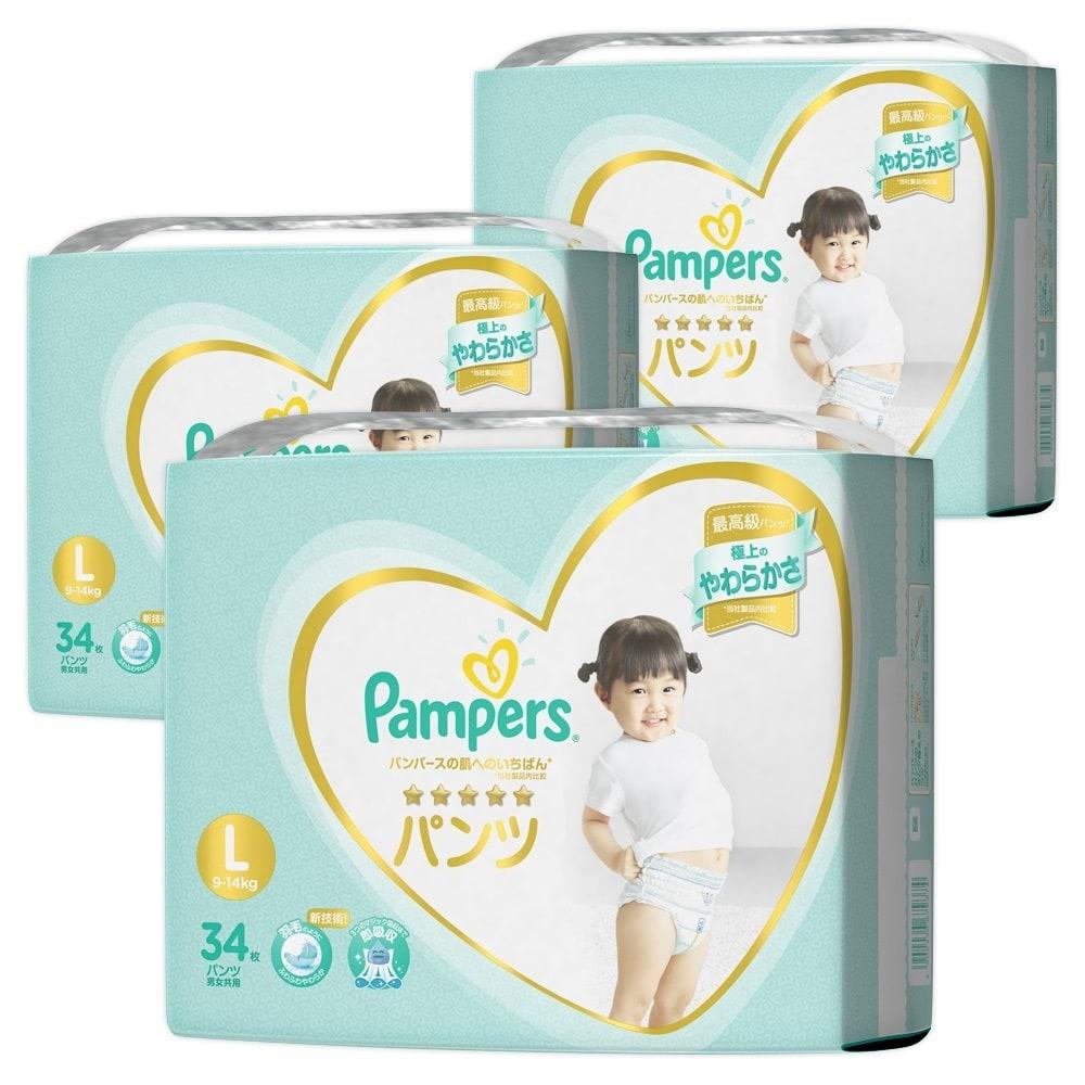 パンパース はじめての肌へのいちばん パンツ Lサイズ 102枚 (34枚x3) 紙おむつ箱入り
