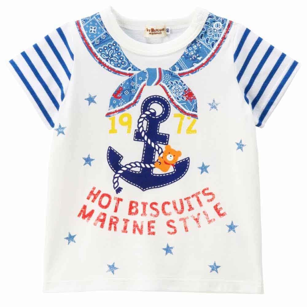 トイザらス・ベビーザらス オンラインストア【ホットビスケッツ】爽やかマリンスタイル Tシャツ(ブルーx100cm)