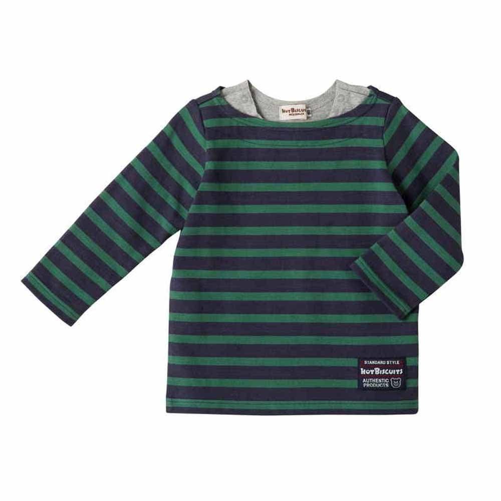 【ホットビスケッツ】天竺素材 シンプルボーダー柄Tシャツ(紺・グリーンx80cm)