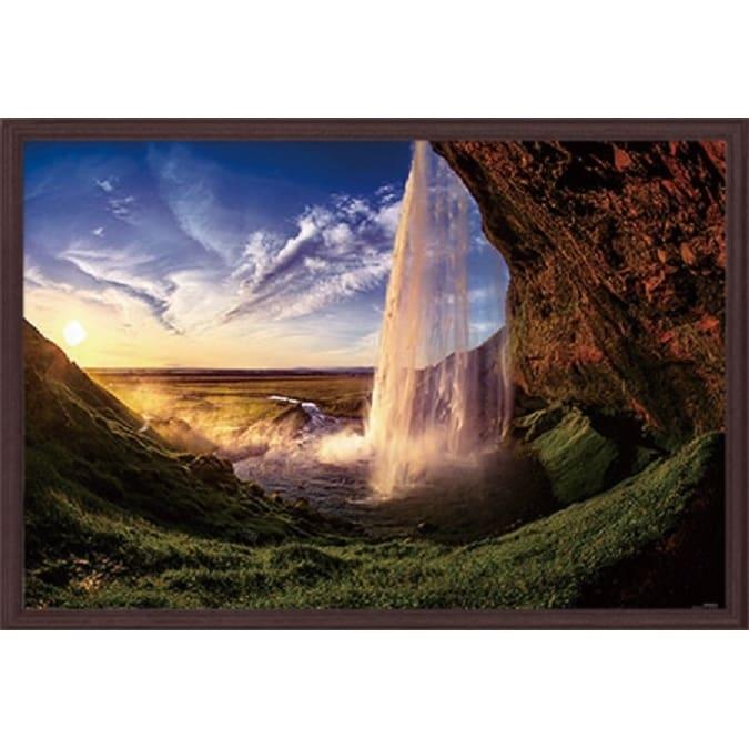 KAGAYA1000Pパズル アイスランドの夕日&木製フレームブラウンセット【送料無料】