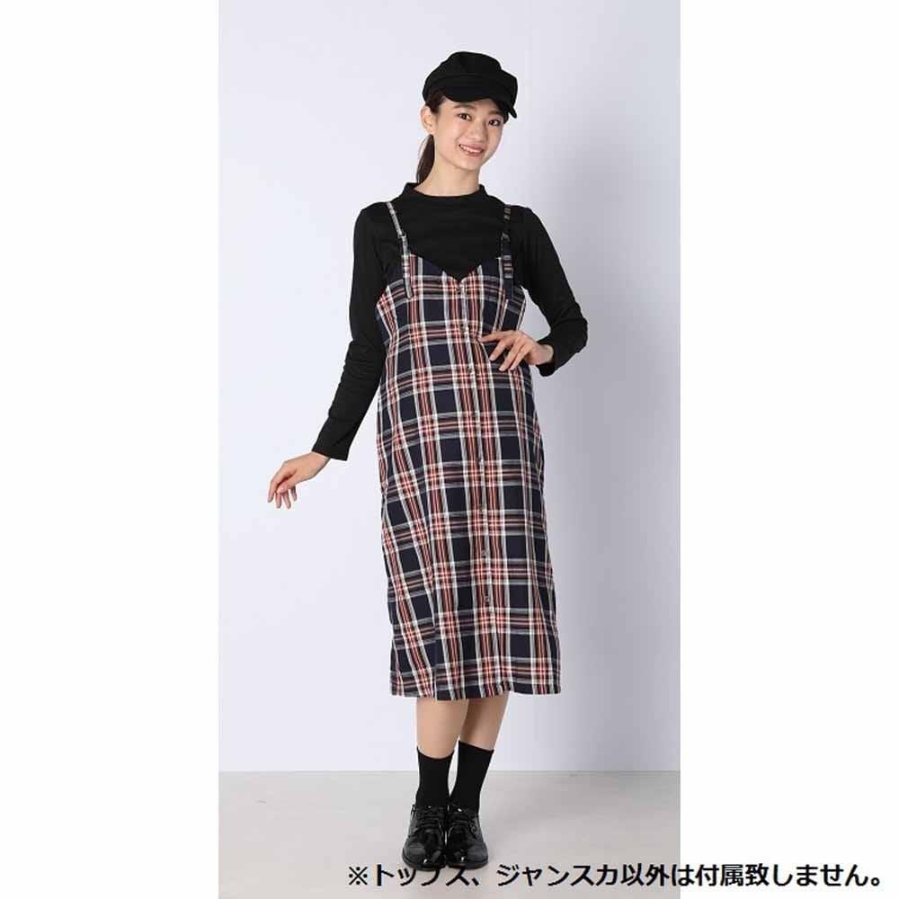 AIN トップス付 先染め格子ジャンパースカート(ネイビーxM)【送料無料】