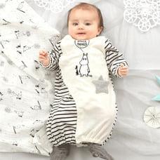 80564c47f1a6a ベビーザらス限定 MOOMIN 新生児兼用ドレス ボーダー切替 ムーミン( ...