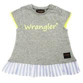 d26b2c4883697 ベビーザらス限定 WRANGLER ラングラー ストライプ裾フリル ネオンロゴ 半袖Tシャツ(グレ・