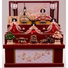 <ベビーザらス> 10%OFF! 【雛人形】ベビーザらス限定 三段収納五人飾り「春爛漫桜刺繍」【送料無料】画像