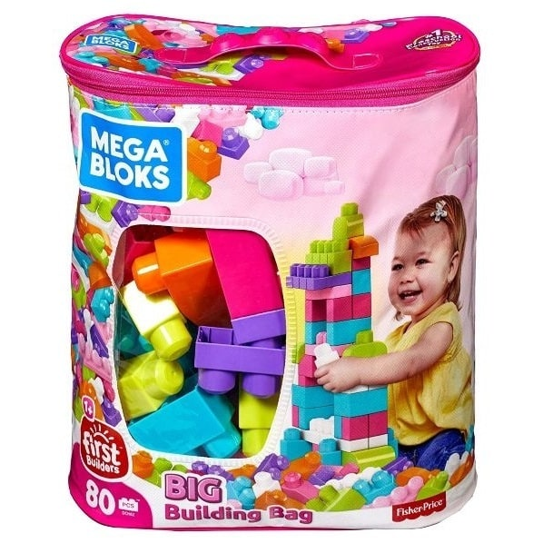 1才からのメガブロック おおきなブロック 80ピースバッグ ピンク
