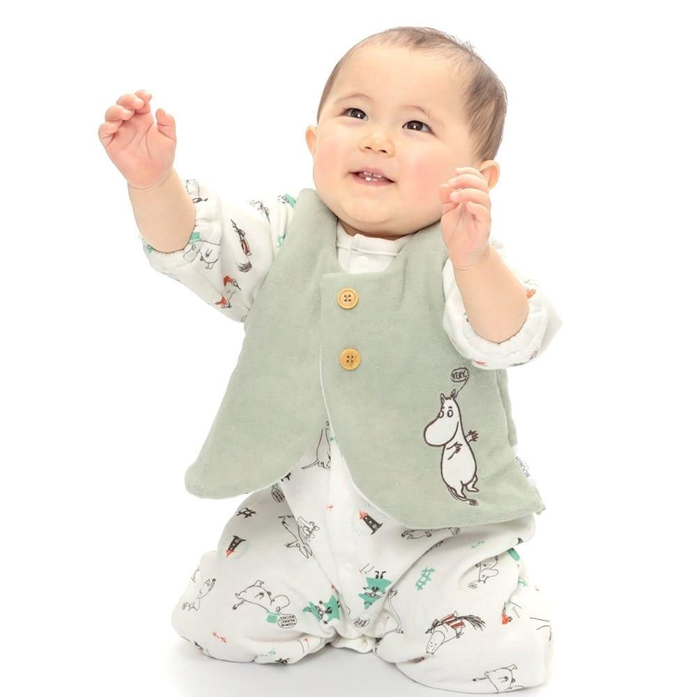 トイザらス・ベビーザらス オンラインストアベビーザらスオリジナル MOOMIN 新生児ベスト アップリケ ムーミン(ライトグリーン×50-70cm)