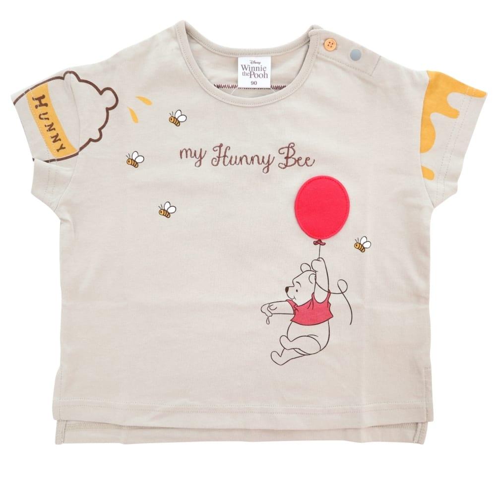 ディズニー くまのプーさん 風船立体アップリケ半袖Tシャツ (チャコール×80cm)【送料無料】