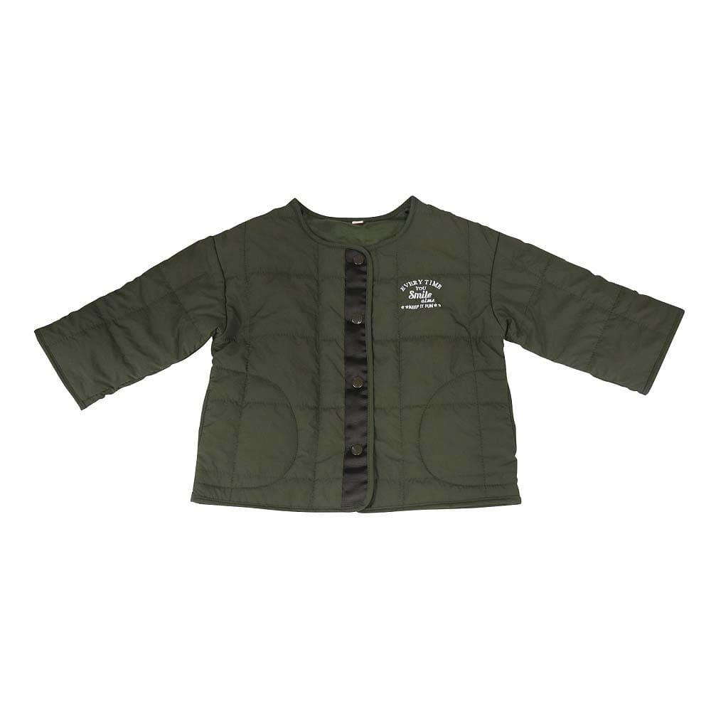 トイザらス・ベビーザらス オンラインストアベビーザらス限定 ノーカラー中綿ジャケット (カーキ×80cm)